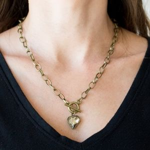 """Princeton Princess"" - Brass Heart Toggle Necklace"